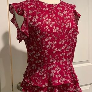 Ruffle sleeve Banana Republic peplum blouse sz 6